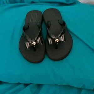 Kate Spade black bow flip-flops